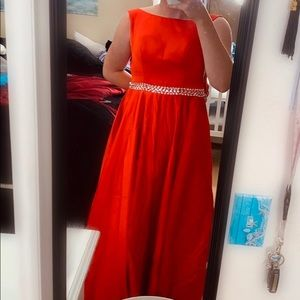 New red long prom dress
